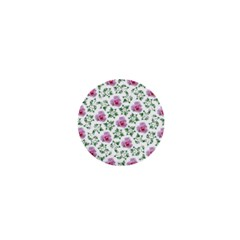 Rose Flower Pink Leaf Green 1  Mini Buttons by Alisyart