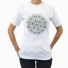 Rose Flower Pink Leaf Green Women s T Shirt (white) (two Sided) by Alisyart