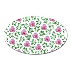 Rose Flower Pink Leaf Green Oval Magnet by Alisyart