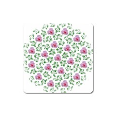 Rose Flower Pink Leaf Green Square Magnet by Alisyart