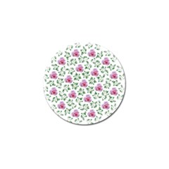 Rose Flower Pink Leaf Green Golf Ball Marker by Alisyart