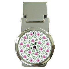 Rose Flower Pink Leaf Green Money Clip Watches by Alisyart