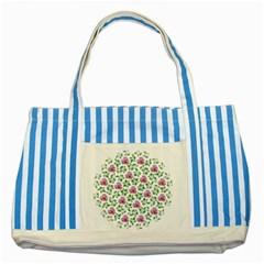 Rose Flower Pink Leaf Green Striped Blue Tote Bag by Alisyart