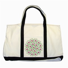 Rose Flower Pink Leaf Green Two Tone Tote Bag by Alisyart