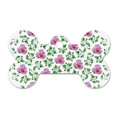 Rose Flower Pink Leaf Green Dog Tag Bone (two Sides) by Alisyart