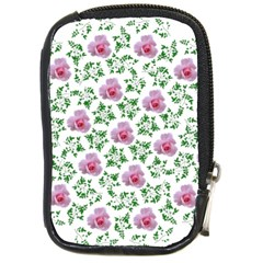 Rose Flower Pink Leaf Green Compact Camera Cases by Alisyart