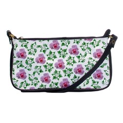 Rose Flower Pink Leaf Green Shoulder Clutch Bags by Alisyart