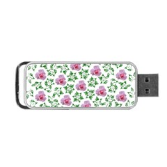 Rose Flower Pink Leaf Green Portable Usb Flash (one Side) by Alisyart