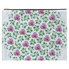 Rose Flower Pink Leaf Green Cosmetic Bag (xxxl)  by Alisyart