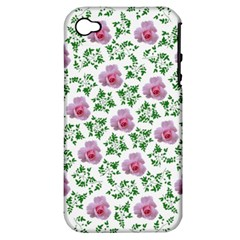 Rose Flower Pink Leaf Green Apple Iphone 4/4s Hardshell Case (pc+silicone) by Alisyart