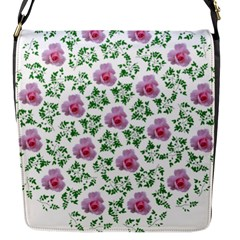 Rose Flower Pink Leaf Green Flap Messenger Bag (s) by Alisyart