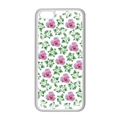 Rose Flower Pink Leaf Green Apple Iphone 5c Seamless Case (white) by Alisyart