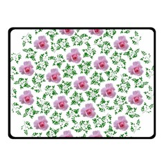 Rose Flower Pink Leaf Green Double Sided Fleece Blanket (small)  by Alisyart