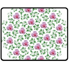Rose Flower Pink Leaf Green Double Sided Fleece Blanket (medium)  by Alisyart