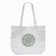 Rose Flower Pink Leaf Green Tote Bag (white) by Alisyart