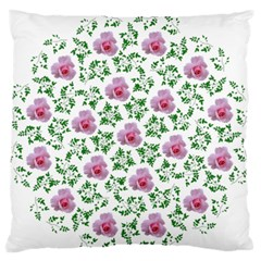 Rose Flower Pink Leaf Green Standard Flano Cushion Case (two Sides) by Alisyart