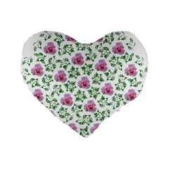 Rose Flower Pink Leaf Green Standard 16  Premium Flano Heart Shape Cushions by Alisyart