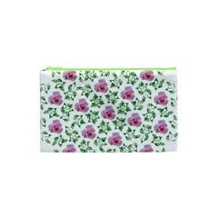 Rose Flower Pink Leaf Green Cosmetic Bag (xs) by Alisyart
