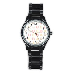 Alphabeth Rainbow Color Stainless Steel Round Watch by Alisyart