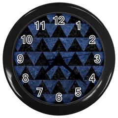 Triangle2 Black Marble & Blue Stone Wall Clock (black) by trendistuff