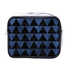 Triangle2 Black Marble & Blue Stone Mini Toiletries Bag (one Side) by trendistuff