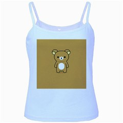 Bear Minimalist Animals Brown White Smile Face Baby Blue Spaghetti Tank by Alisyart