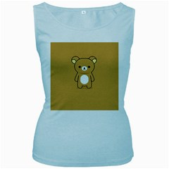Bear Minimalist Animals Brown White Smile Face Women s Baby Blue Tank Top by Alisyart