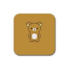 Bear Minimalist Animals Brown White Smile Face Rubber Square Coaster (4 Pack)  by Alisyart