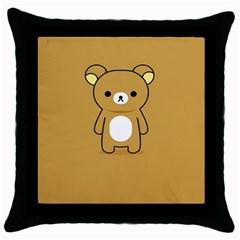 Bear Minimalist Animals Brown White Smile Face Throw Pillow Case (black) by Alisyart