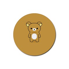 Bear Minimalist Animals Brown White Smile Face Rubber Coaster (round)  by Alisyart