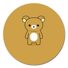 Bear Minimalist Animals Brown White Smile Face Magnet 5  (round) by Alisyart