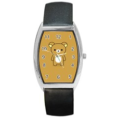 Bear Minimalist Animals Brown White Smile Face Barrel Style Metal Watch by Alisyart