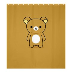 Bear Minimalist Animals Brown White Smile Face Shower Curtain 66  X 72  (large)  by Alisyart