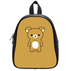 Bear Minimalist Animals Brown White Smile Face School Bags (small)  by Alisyart