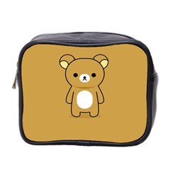 Bear Minimalist Animals Brown White Smile Face Mini Toiletries Bag 2 Side by Alisyart