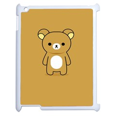 Bear Minimalist Animals Brown White Smile Face Apple Ipad 2 Case (white) by Alisyart