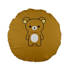 Bear Minimalist Animals Brown White Smile Face Standard 15  Premium Round Cushions by Alisyart