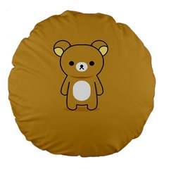 Bear Minimalist Animals Brown White Smile Face Large 18  Premium Flano Round Cushions by Alisyart