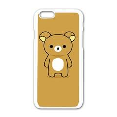 Bear Minimalist Animals Brown White Smile Face Apple Iphone 6/6s White Enamel Case by Alisyart