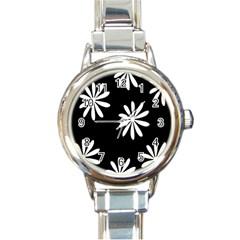 Black White Giant Flower Floral Round Italian Charm Watch by Alisyart