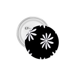 Black White Giant Flower Floral 1 75  Buttons by Alisyart