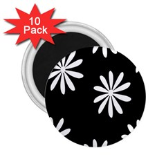 Black White Giant Flower Floral 2 25  Magnets (10 Pack)  by Alisyart