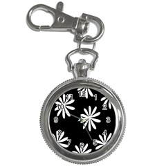 Black White Giant Flower Floral Key Chain Watches by Alisyart