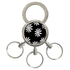 Black White Giant Flower Floral 3 Ring Key Chains by Alisyart