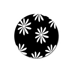 Black White Giant Flower Floral Magnet 3  (round) by Alisyart