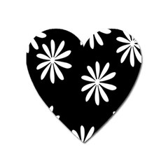 Black White Giant Flower Floral Heart Magnet by Alisyart
