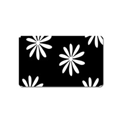 Black White Giant Flower Floral Magnet (name Card) by Alisyart