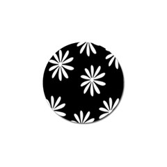 Black White Giant Flower Floral Golf Ball Marker by Alisyart