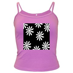 Black White Giant Flower Floral Dark Spaghetti Tank by Alisyart