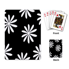 Black White Giant Flower Floral Playing Card by Alisyart